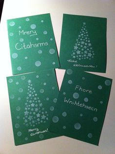 Diy Christmas cards from colored paper and white stamps