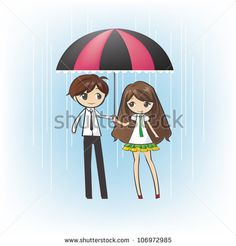 Cute lover teenage couple boyfriend girlfriend in the rain with under the same umbrella love dating with blue isolated background (cartoon vector)