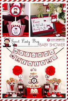 Red Sweet Lady Bug Baby Shower Package Personalized MINI Collection Set - PRINTABLE DIY - BS815CB1y. $29.00, via Etsy.