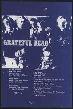 Original GRATEFUL DEAD Concert Handbill, April 18, 1971, S.U.N.Y. Cortland, Lucky Field House, Cortland, N.Y..