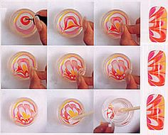 DIY Water Marble Nail Art! Definitely want to try this...very cool!