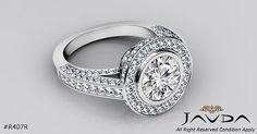 3ct Halo Pave Bezel Set Round Diamond Engagement Ring GIA F VS2 14k White Gold