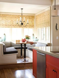 You'll want to serve up pancakes every morning in this boothlike banquette that sits on a raised platform. Casual meals or fine dining fit the menu at this cozy gathering area. The wraparound bench, outfitted in comfy cushions, offers plenty of seating. Kitchen Booths, Kitchen Nook, Eat In Kitchen, Kitchen Decor, Kitchen Design, Kitchen Banquette, Kitchen Seating, Banquette Seating, Corner Seating