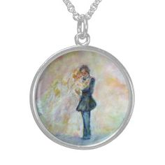 Wedding Dance Designer Sterling Silver Necklace Exquisitely gorgeous, you will LOVE our Stunning Wedding Dance Whimsical Art Designer Sterling Silver Necklace. This necklace features a stunning color palette inspired by the lush green gardens of the English Country-side. The perfect Wedding Gift! Designed by artist Marie-Jose Pappas of Innocent Originals.  http://www.zazzle.com/innocentoriginals*