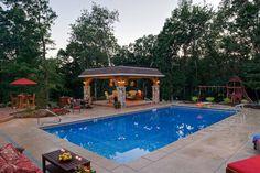 Playful suburban backyard swimming pool