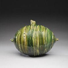 Artist: Shigemasa Higashida, Title: Oribe Oval Vase  - click on image to enlarge