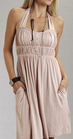 Light Pink Pioneer Halter Dress