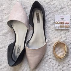 """HP x 5 Vera Wang D'Orsey Flats Pink & Black Vera Wang D'Orsey Pointed Toe Flats. They are a Pink Blush Nude color and Black. Barely worn, little to no wear on the bottom. Labeled size nine, could definitely work as a 9.5  The last picture is with yellow indoor lighting just taken to show how they fit. The first pictures are the true light pink color of the shoe. Open to offers! HP x 5 2/03/16 """"Style Obsessions"""" And """"Weekend Uniform"""" Party """"Total Trendsetter"""" party 02/13/16, """"Casual Chic""""…"""