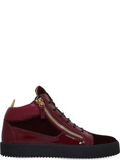 GIUSEPPE ZANOTTI Kriss patent-leather and velvet trainers