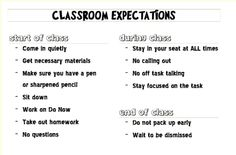 Classroom Expectations