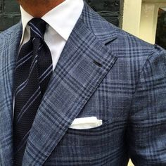 "Viola Milano ""Navy/Blue Stripe"" Grenadine tie & handrolled ""White Linen"" pocket square…"