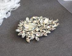 GINA - Vintage Inspired Crystal Rhinestone And Pearls Bridal Hair Comb, Rhinestone Wedding Hair Comb, Rhinestone Bridal Hair Accessories. $59.00, via Etsy.