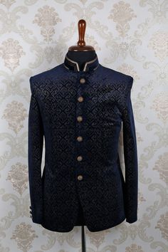 Navy #blue & #beige #velvet dashing slim fit #suit with mandarin collar -ST390