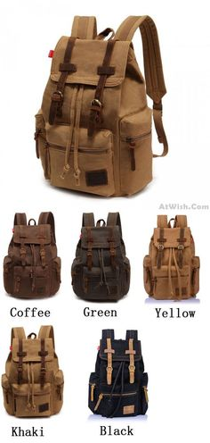 Which color do you want? Retro Brown Scrub Canvas Backpack for big sale! #backpack #canvas #bag #rucksack