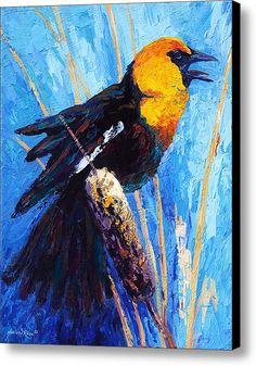 Imprimir Blackbird Canvas dirigido amarelo / Canvas Art By Marion Rose