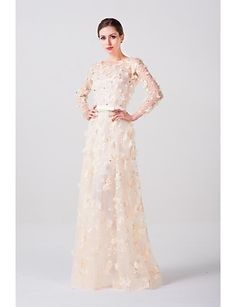 A-line Scoop Floor-length Wedding Dress (Lace/Tulle) - USD $ 199.99
