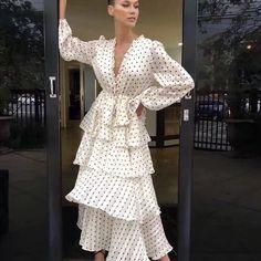 bohemian new V neck long sleeve dot print multi-layer ruffles women elegant long dress Chic Outfits, Dress Outfits, Hijab Fashion, Fashion Dresses, Look Con Short, Mode Costume, Feminine Style, Glam Style, Dot Dress