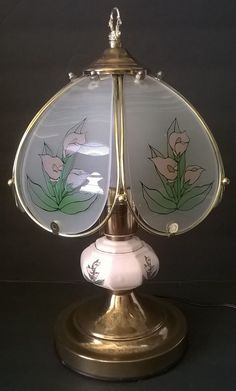 Vintage Table Lamp Stained Gl Shade Porcelain And Br Base Painted Lily