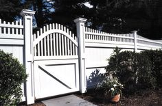 """72"""" Crowned Southport gate (rearside) on 7"""" double inlaid posts with flat dental caps #fence #fencing #yard #backyard #outdoor #home #house #landscape #landscaping"""