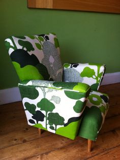 Child's vintage reupholstered armchair I've got one just like it - just need to reupholster it!