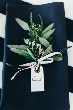 Attach name cards to a bit of greenery | Michaela Klouda Photography