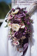 PURPLE  IVORY WEDDING BOUQUET ORCHIDS ROSES PLUM PINK LAVENDER CUSTOM  16 PC