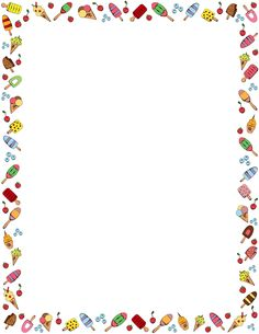 A border featuring a wide variety of ice cream graphics. Free downloads at http://pageborders.org/download/ice-cream-border/