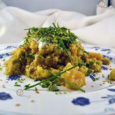 Ensalada de quinoa, espárragos y habitas.