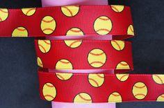 10Yd Softball Glitter 7/8 Red Grosgrain Ribbon by doreme1212