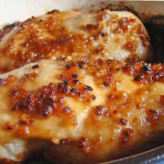 Cheesy Garlic Baked Chicken Recipe 4	boneless skinless chicken breasts -thin 4	garlic cloves, minced 4	tablespoons brown sugar 3	teaspoons olive oil 1	teaspoon salt 1	cup of cheese 350°