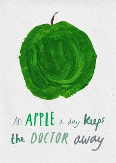 Apple a day (Nikki Miles). May we all keep healthy until we can cope w/the changes our government is forcing upon our system of health care delivery. I hope that it will not be as bad as I fear. Lettering, Typography, Apple Illustration, Clever Quotes, Color Psychology, Cool Fonts, Simple Art, Diy Craft Projects, Beautiful Artwork