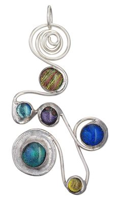 Jewelry Design - Pendant with Dichroic Glass Cabochons and Wirework - Fire Mountain Gems and Beads