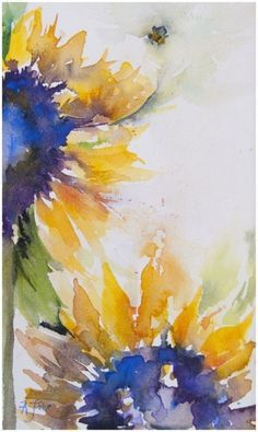 I love painting with complementary colours. When two colors that are opposite on the colour wheel meet in a painting, the results are vibrant and vivid. They can actually be disorienting in large d… Brilliance: sunflower study Watercolor Sunflower, Watercolor Flowers, Sunflower Paintings, Sunflower Art, Art Flowers, Flower Artwork, Painting Flowers, Flowers Garden, Love Painting