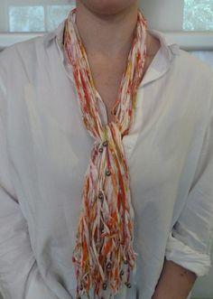 collier à nouer en rubans de coton multicolores