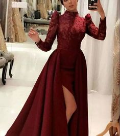A-Line Cheap Lace Prom Dresses Tulle Evening Dress With Sleeve 1060 - Renee Marino Prom Dresses Hijab Dress Party, Tulle Prom Dress, Prom Dresses, Hijab Evening Dress, Long Prom Gowns, Dress Wedding, Hijab Fashion, Fashion Dresses, Muslim Fashion