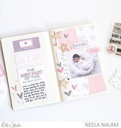 Travelers Notebook pages created using Elle's Studio Feb kit and add ons. I also used the Little Moments collection. #ellesstudio #travelersnotebook