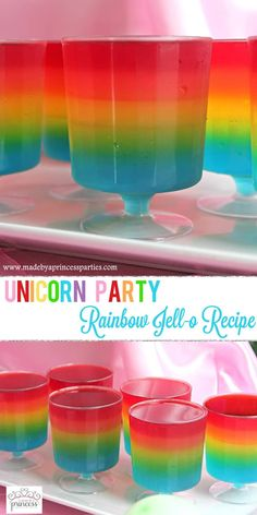 Unicorn Party Rainbow Jello Recipe perfect for any party! @madebyaprincess #rainbowparty #layeredjello #trollsparty #unicornparty #rainbowjello