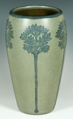 Marblehead Pottery | Marblehead pottery vase, steel gray with blue tree decoration ...