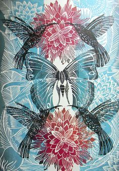 Humming Bird Lino print by Mangle Prints, via Flickr