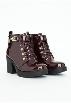 Missguided - Felisimina Burgundy Patent Ankle Boots with Buckle Detail