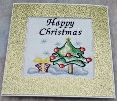 completed handmade embroidered Christmas Card 'Happy Christmas ' ex large card