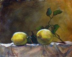"""Daily Paintworks - """"Lemons From Italy"""" - Original Fine Art for Sale - © Sharon Kullberg"""