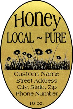 Golden Flowers Honey Labels for sale at Lappe's Bee Supply