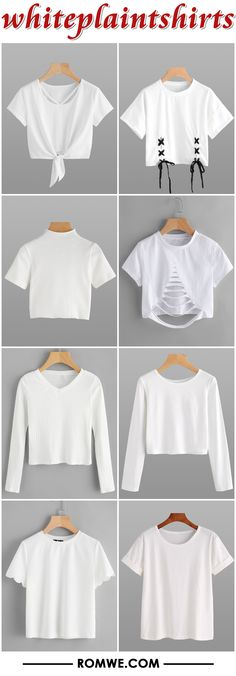 white plain t shirts from romwe.com