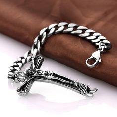 Classic Stainless Steel Dangle Cross Pendant Link Chain Charm Bracelet.