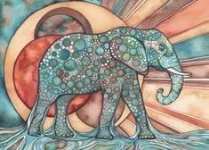 El sol elefante 5 x 7 impresión de por DeepColouredWater en Etsy