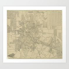 Vintage Map of Downtown Houston (1913) Art Print