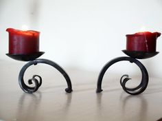 Upset Scroll Candle Holder Set. Hand Forged by a Blacksmith.