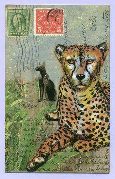 Cheetah...Altered Postcard - M. LaMar
