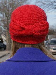 MF Bow Skull Cloche Hat in Cherry Red Crochet by MavenFresh, $50.00